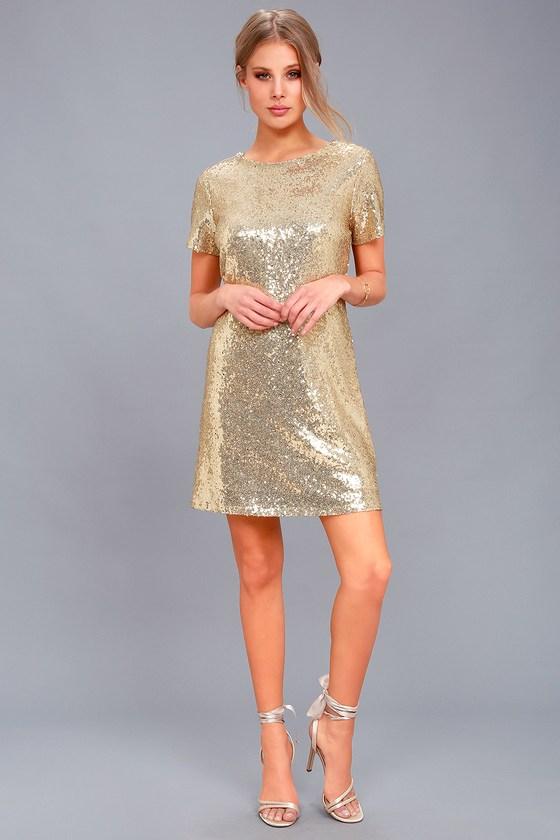 cc6aa047095 Stunning Gold Sequin Dress - Sequin Sheath Dress