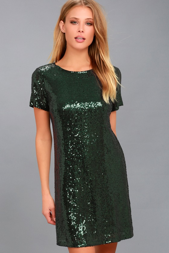 d1d39565fb18 Stunning Dark Green Sequin Dress - Sequin Sheath Dress
