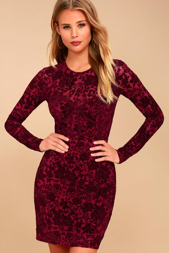 Cor-Set to Go Wine Red Burnout Velvet Print Dress 3