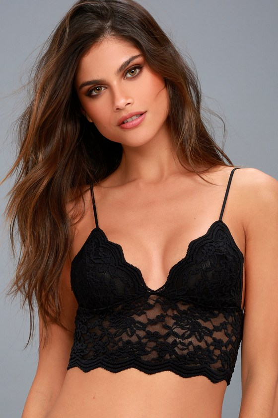 b4ab1b417e Free People On the Outside - Black Lace Bralette