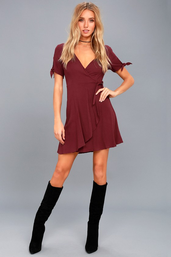 Cute Burgundy Dress Wrap Dress Short Sleeve Dress