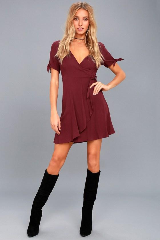 Cute Burgundy Dress Wrap Dress Short Sleeve Dress