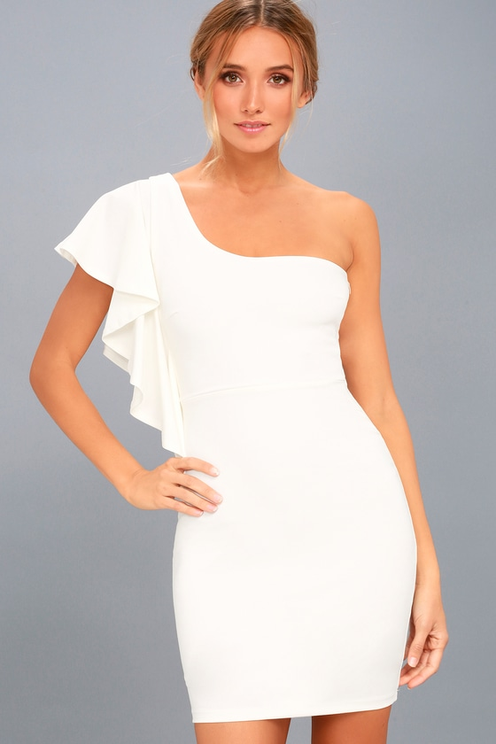 3b869b5db Sexy White Dress - Bodycon Dress - One-Shoulder Dress - LWD