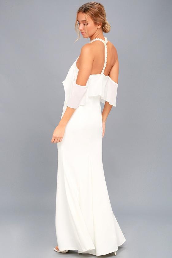a2088a577c37 White Maxi Dress - Off-the-Shoulder Dress - Pearl Dress