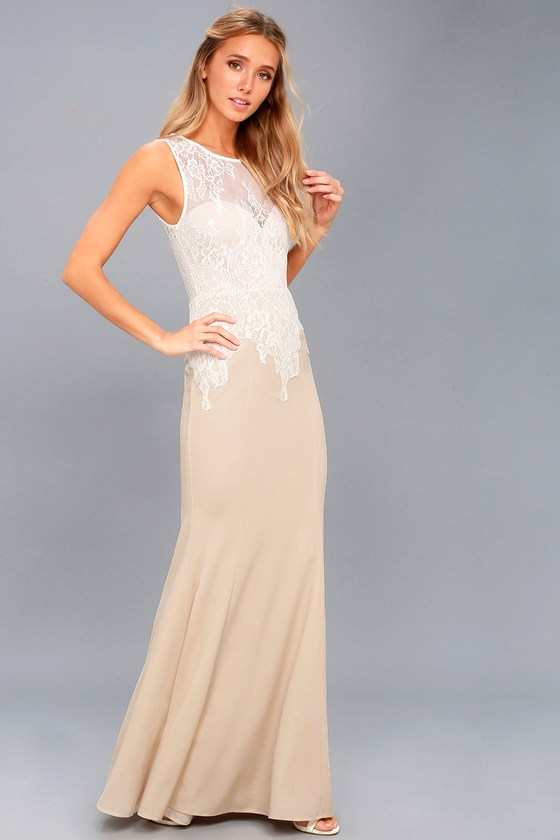 Lover's Lace White and Nude Lace Maxi Dress 3
