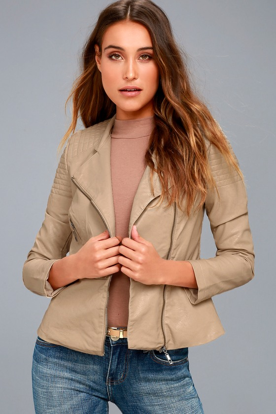 Souped-Up Beige Vegan Leather Moto Jacket 1