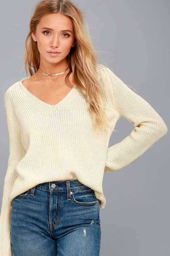 Cute Cream Knit Sweater - V-Neck Sweater - Blush Sweater