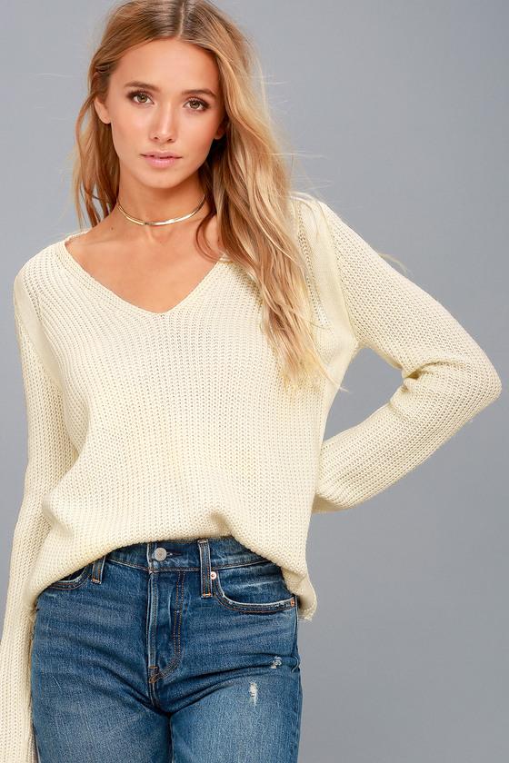31a38bed43 Cute Cream Knit Sweater - V-Neck Sweater - Blush Sweater