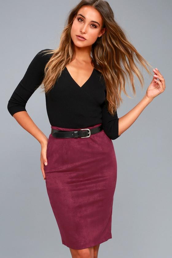dcfc93cef Chic Pencil Skirt - Midi Skirt - Vegan Suede Skirt