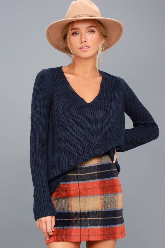 Cute Navy Blue Sweater - V-Neck Sweater - Knit Sweater