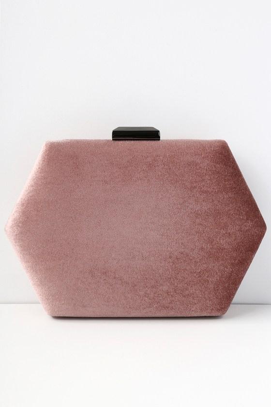 f9c89a976e8 Chic Mauve Pink Clutch - Box Clutch - Velvet Clutch