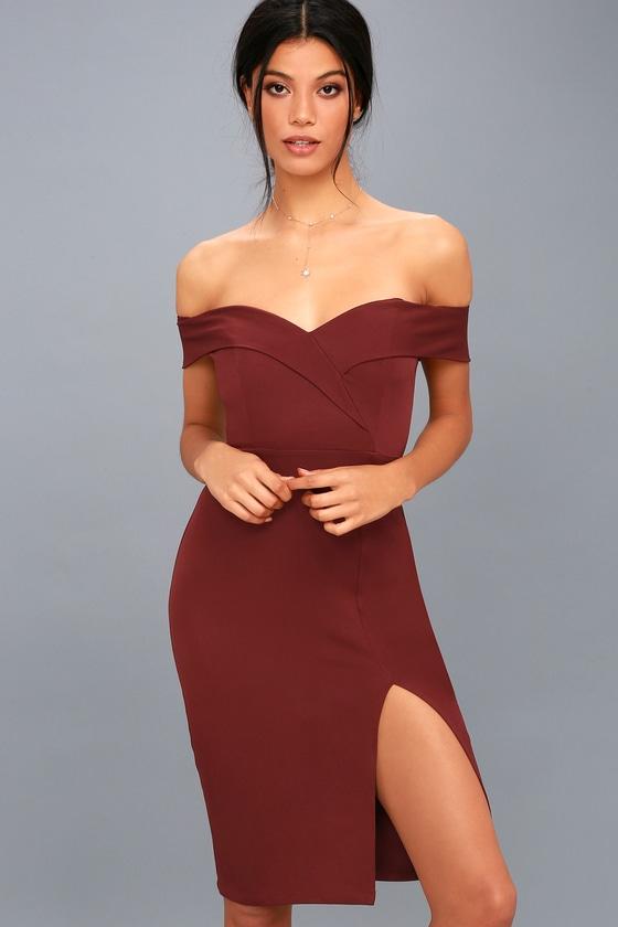 d3edcbc1f431 Cute Burgundy Dress - Bodycon Dress - Off-the-Shoulder Dress