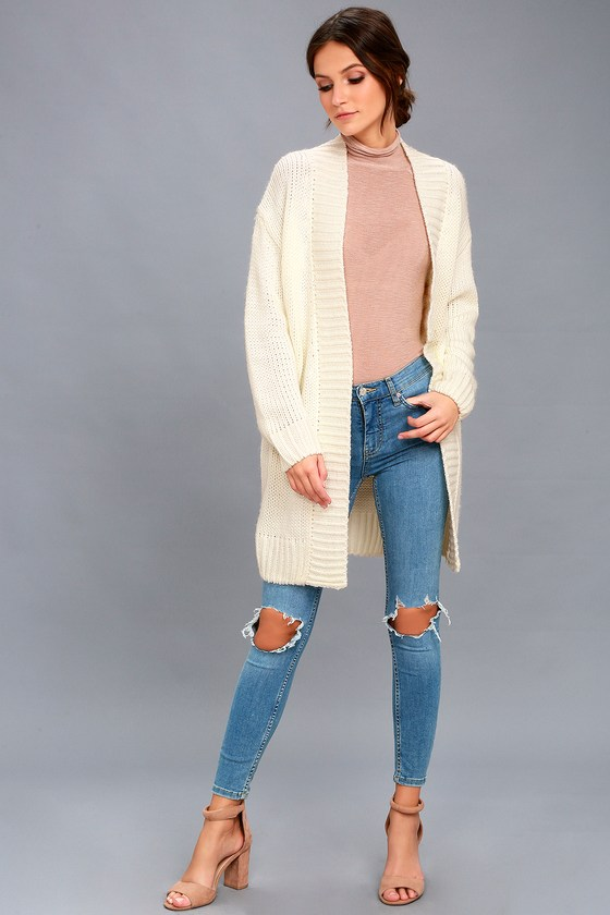 Cozy Cream Sweater - Open Front Cardigan - Knit Sweater