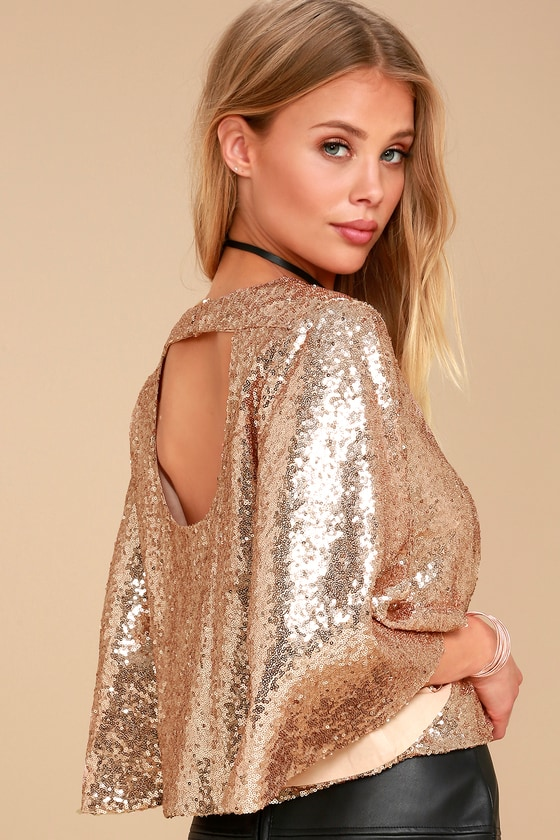 Captivate Rose Gold Sequin Crop Top