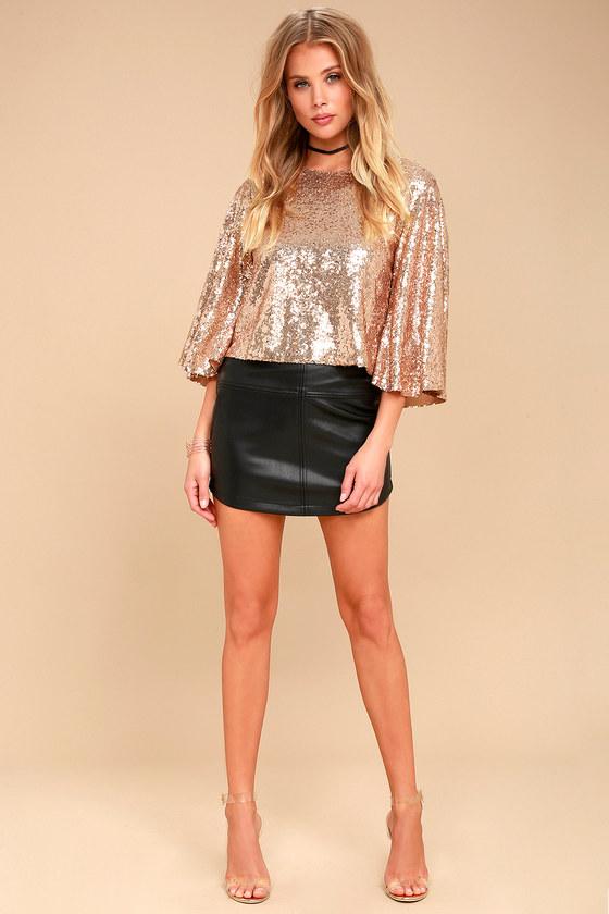 Lovely Rose Gold Top - Sequin Top - Crop Top - Cutout Top 98fe6dd77