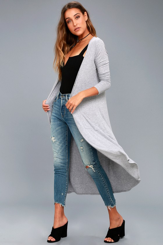 Graceful Ways Heather Grey Long Cardigan Sweater 8