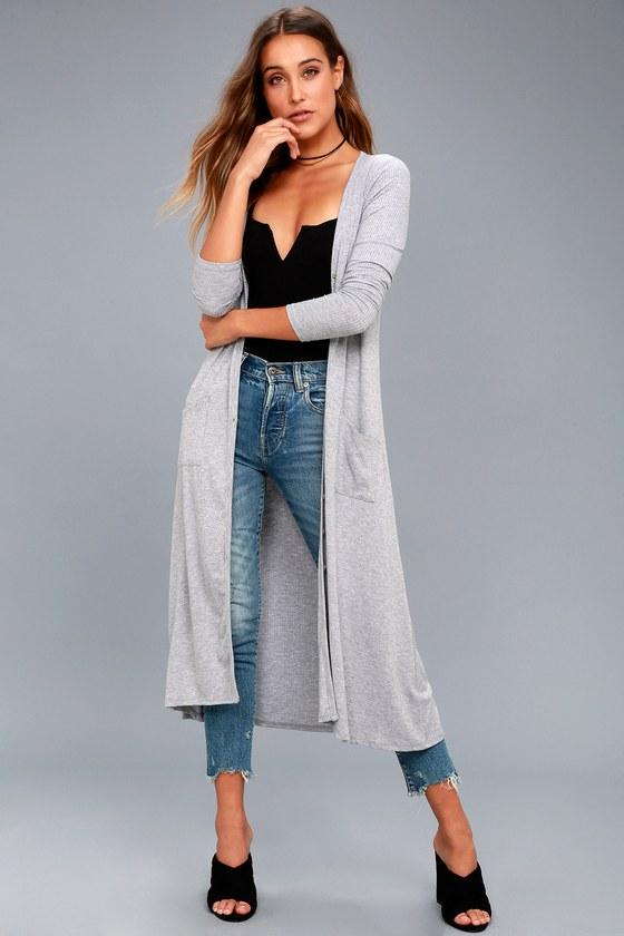 online store 9a7ca e6fc2 Graceful Ways Heather Grey Long Cardigan Sweater