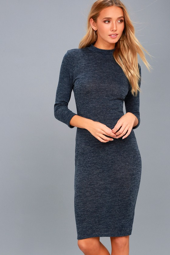 5654fc7533870 Chic Navy Blue Marl Knit Dress - Midi Dress - Bodycon Dress