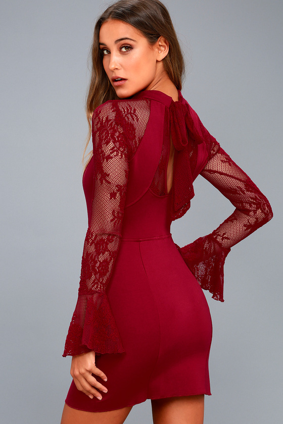 It's Now or Never Wine Red Lace Bodycon Dress 3