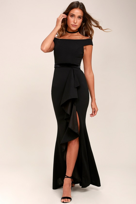 Ballroom Bound Black Off-the-Shoulder Maxi Dress 2