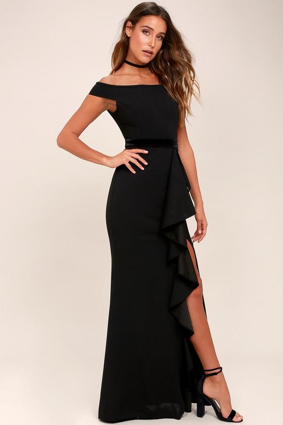 2f0fc11abe1 Stunning Black Maxi Dress - Off-the-Shoulder Maxi Dress