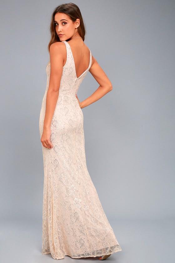 22a092bcdf6 Stunning Blush Maxi Dress - Lace Maxi Dress - Metallic Maxi