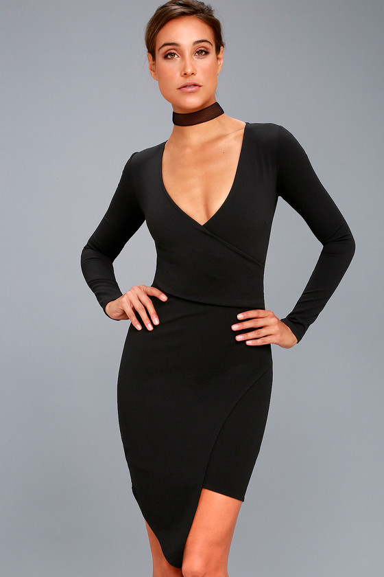 Love Me Completely Black Long Sleeve Bodycon Dress 8
