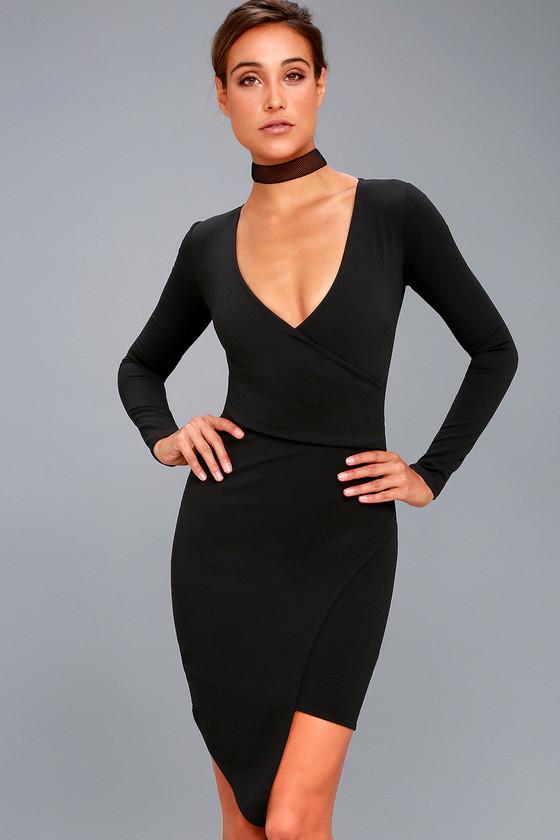Sexy Black Dress Lbd Long Sleeve Dress Bodycon Dress 4600