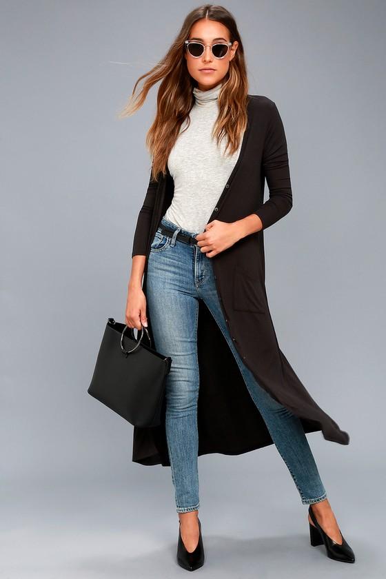 Chic Black Cardigan - Long Cardigan Sweater - Maxi Cardigan - Maxi ...