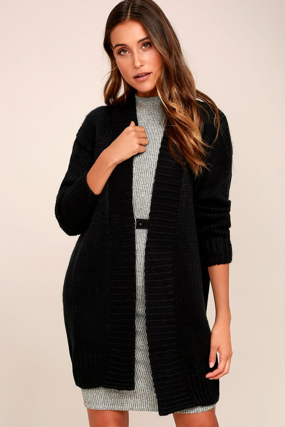 Cozy Black Sweater - Open Front Cardigan - Knit Sweater