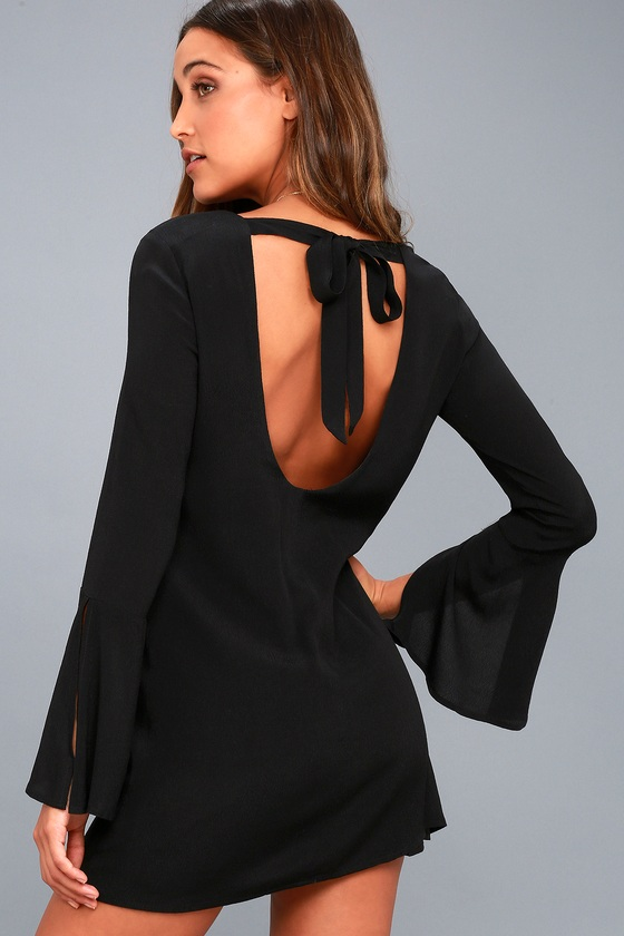 Be the One Black Long Sleeve Backless Shift Dress 6