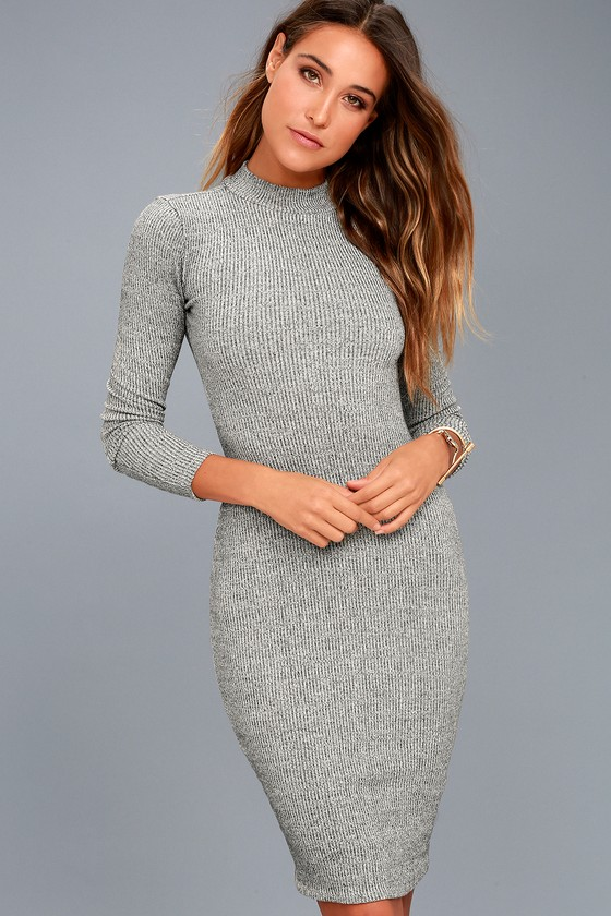 I Mist You Heather Grey Midi Sweater Dress 9