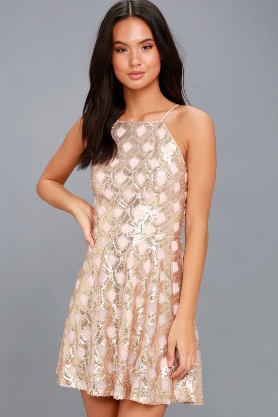 3fd1b177929c Stunning Sequin Dress - Rose Gold Dress - Skater Dress