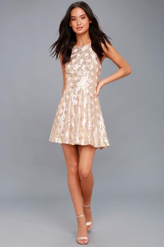 56271cbf Stunning Sequin Dress - Rose Gold Dress - Skater Dress
