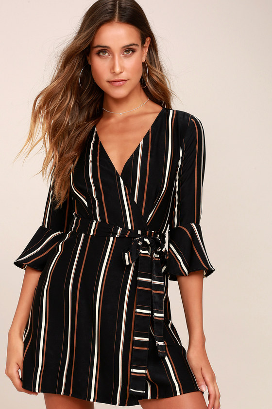Gone to Geneva Black Striped Wrap Dress 1