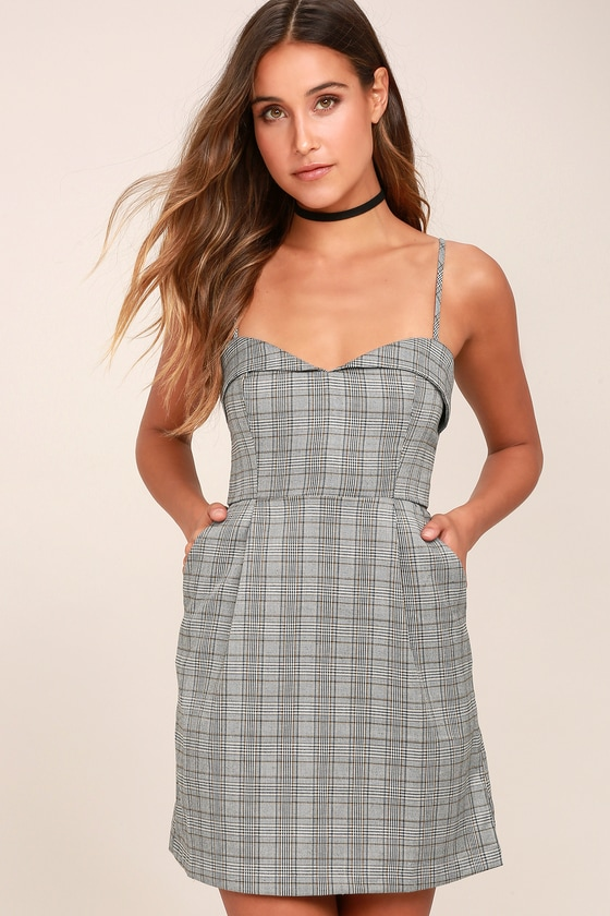8f52b51c2a28 Chic Plaid Dress - Sweetheart Neckline Dress - A-Line Dress