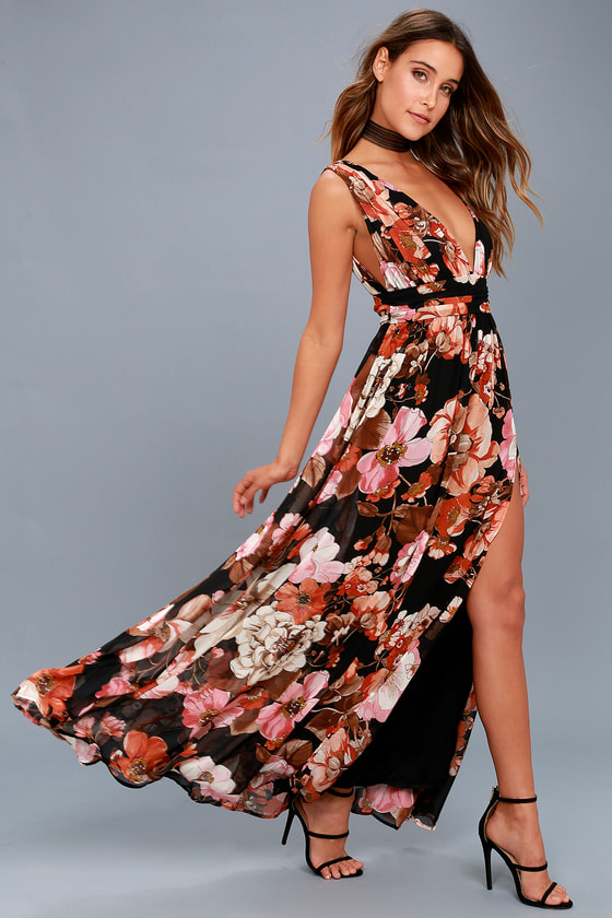 Garden Meandering Black Floral Print Maxi Dress 1