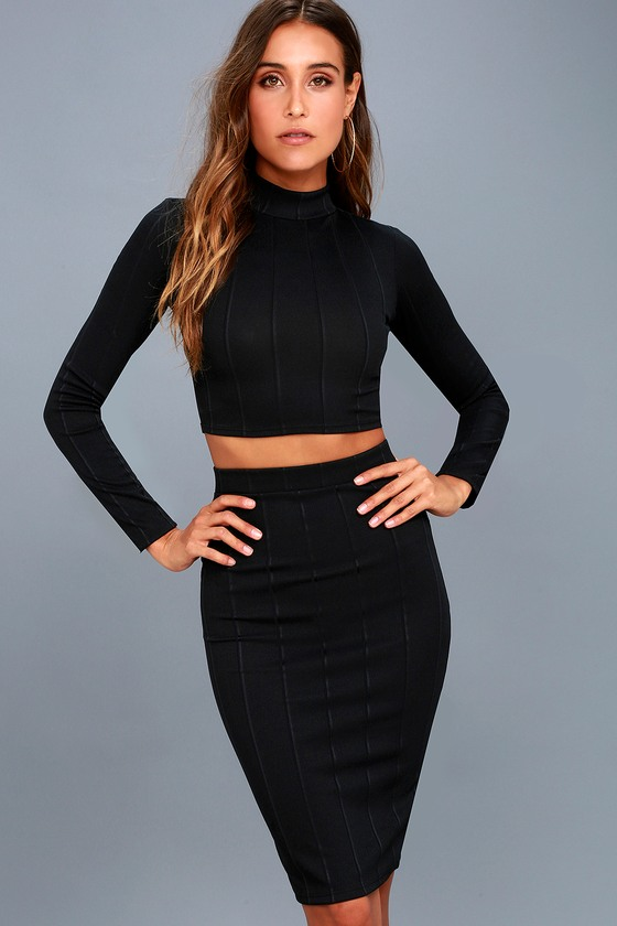 Chic Black Two-Piece Dress - Ribbed Dress - Bodycon Dress 90da22735
