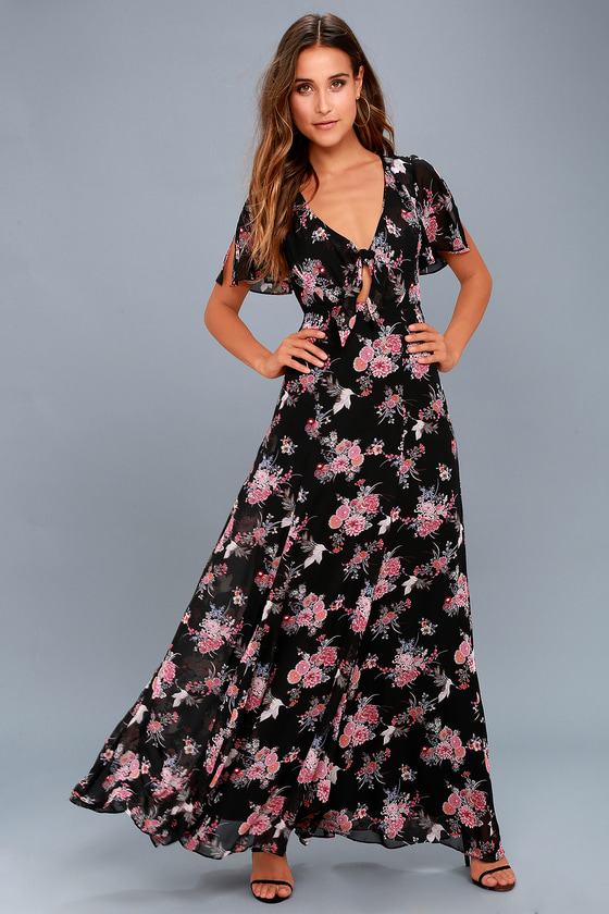 Wings of Love Black Floral Print Maxi Dress 1