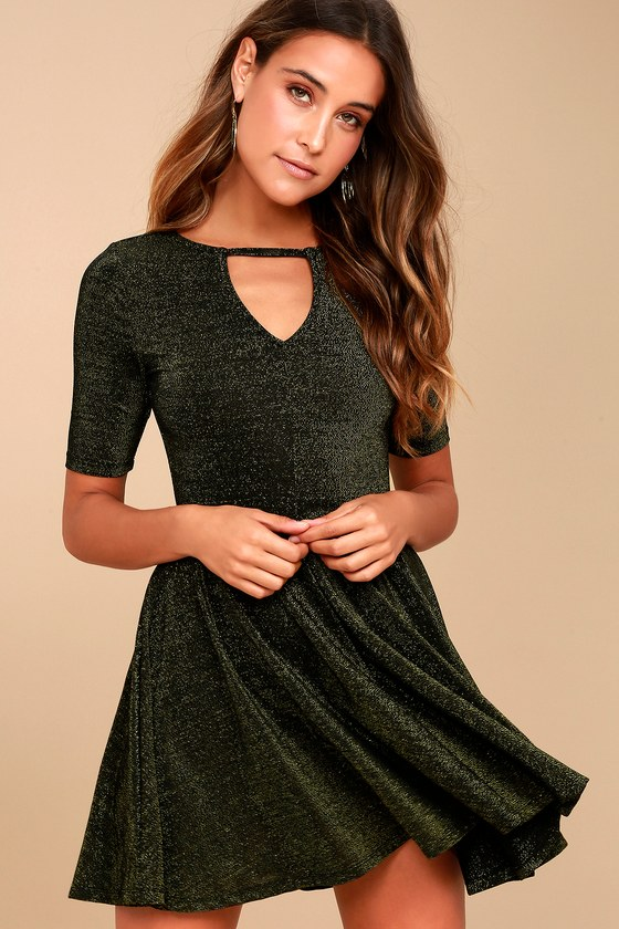 Others Follow After Hours - Gold Dress - Skater Dress c08ca08c36b3