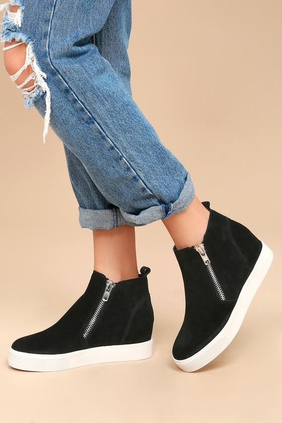 4539d9b3108 Wedgie Black Suede Leather Hidden Wedge Sneakers