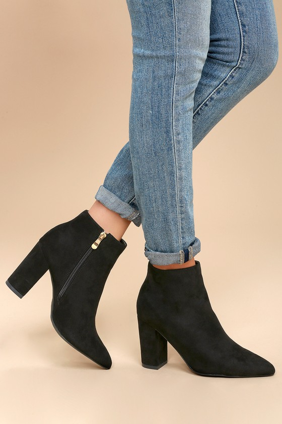 Ottava Booties Black Heel Suede High 3Lq54cAjR