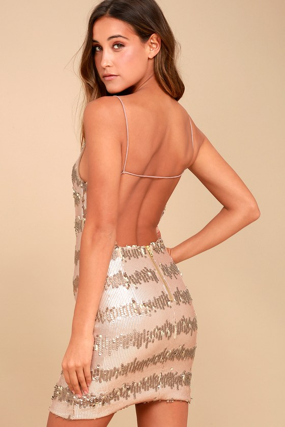 Black Swan Sadie Gold Sequin Mini Dress Backless Dress