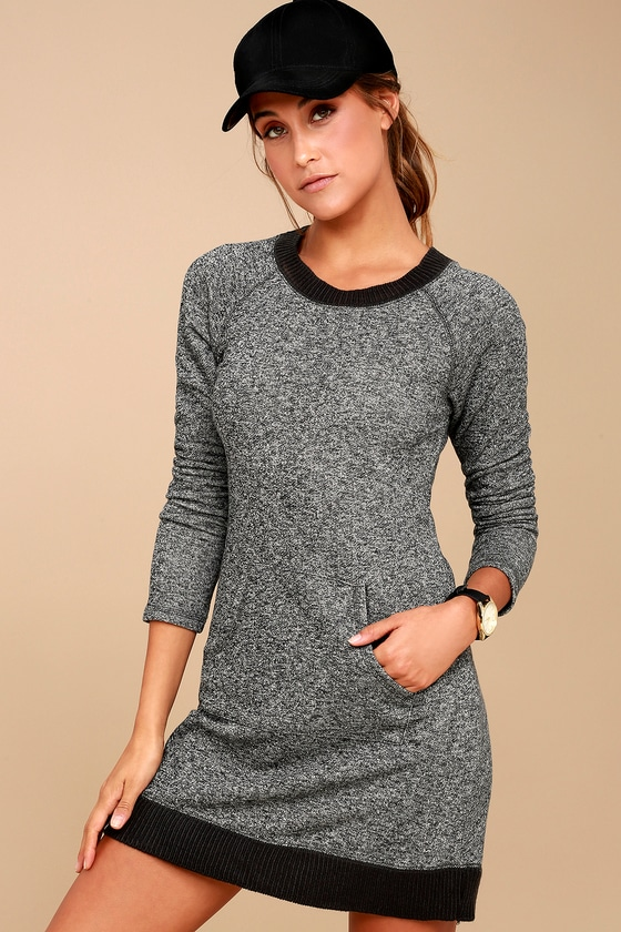 Opening Night Charcoal Grey Sweater Dress 3