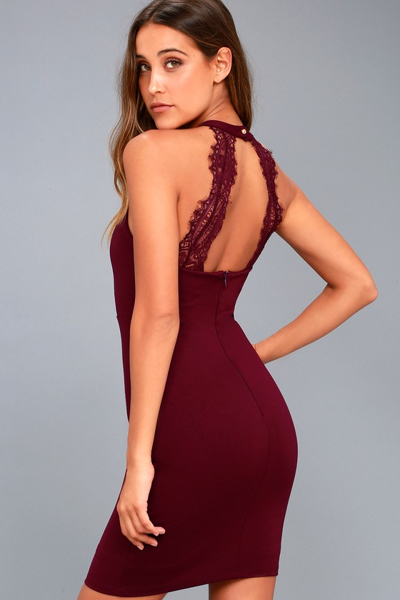 Endlessly Alluring Plum Purple Lace Bodycon Dress 6