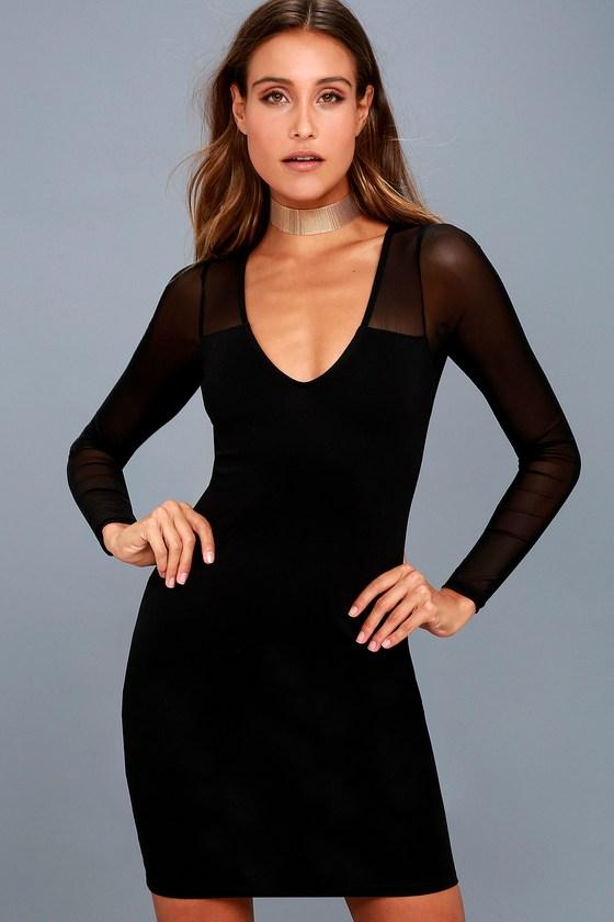 Parisian Nights Black Mesh Long Sleeve Bodycon Dress 6