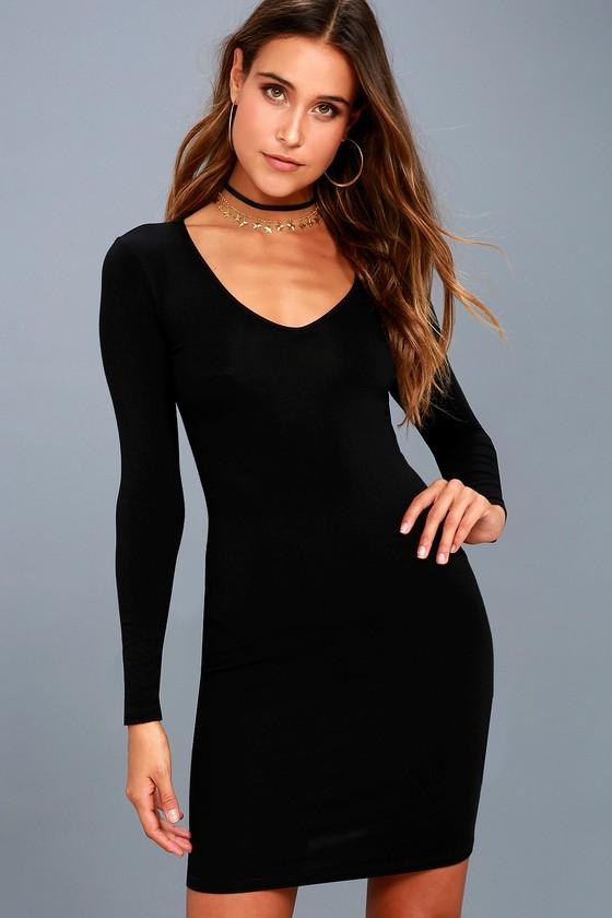 b1dfda6fea5 Sexy Black Dress - Long Sleeve Dress - Bodycon Dress - LBD