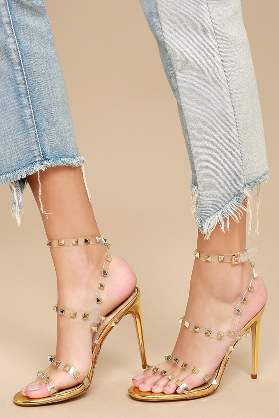 Sexy Gold Heels - Studded Heels - Clear Ankle Strap Heels