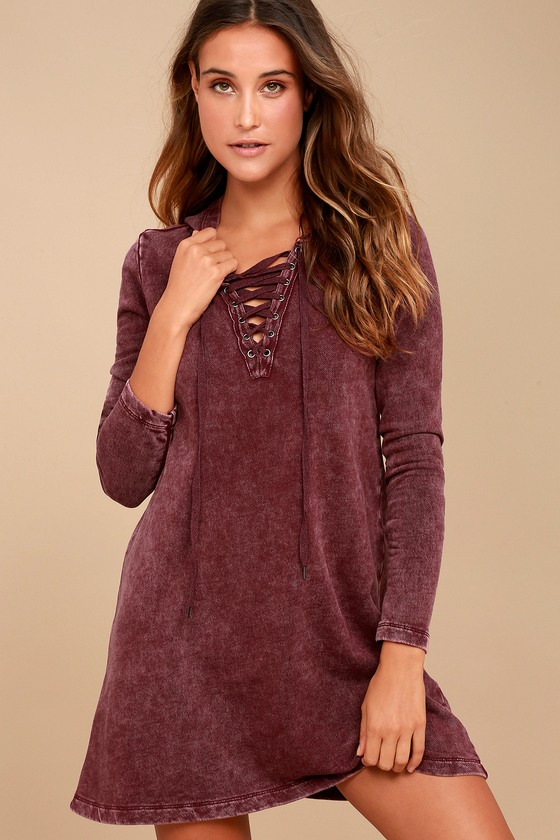 Others Follow Andie - Lace-Up Dress - Hooded Sweater Dress