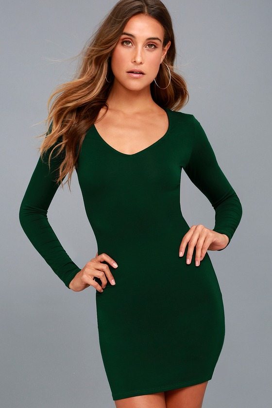 Body Language Forest Green Long Sleeve Bodycon Dress 6